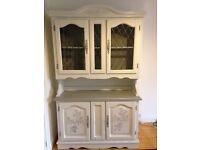 Bespoke Welsh Dresser with Leaded Glass Doors And Shelves On Top. Shabby Chic