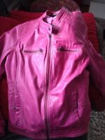 Pink leather jacket from Danier