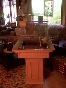 Large Bird Cage, Custom Stand, Perches, Toy, Mirror, Food Diahes