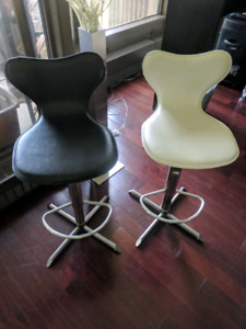 "Stainless Steel Canadian-made modern ""swivel"" bar chairs"