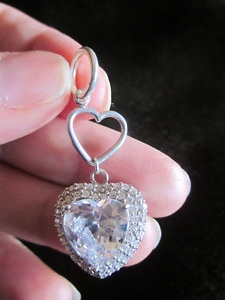 Gorgeous Sterling Silver Pendant with Pave set Cubic Zirconias