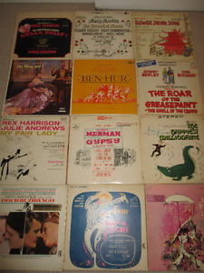 20 Assorted Vintage Records, Musical, Broadway and Movie Tracks