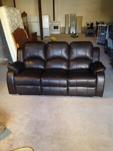 New floor model 3 PC leather reclining couch set