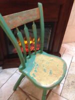 Handpainted Antique honey beeswax seat Farmhouse Chair