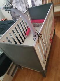 Baby furniture set cot wardrobe drawers