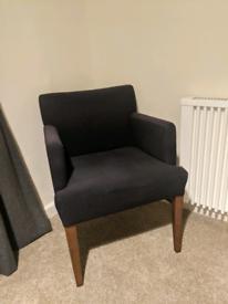 Black Fabric Armchair Chair Wooden Legs