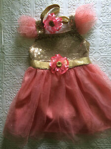 Gold and pink dress, gold sequin dress, Christmas dress,birthday