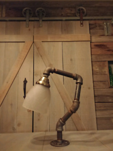 Vintage iron pipe one of a kind lamps for sale