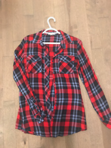 Women's Flannel Red & Blue in Size Small from Ardene