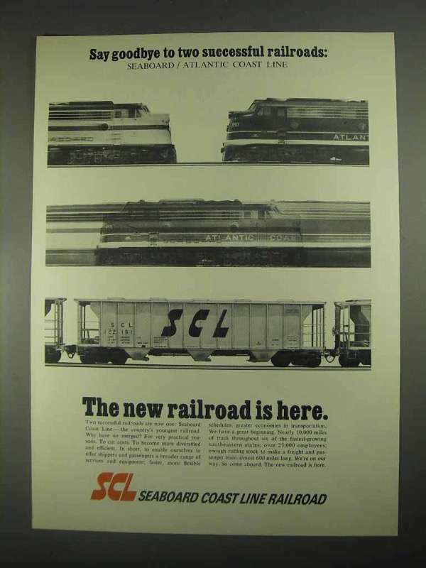1967 Seaboard Coast Line Railroad Ad - Say Goodbye