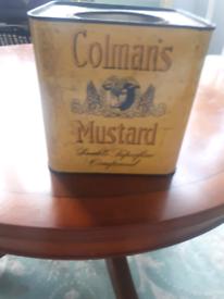 Vintage mustard tin with lid