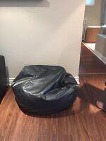 Black leather bean bag beanbag