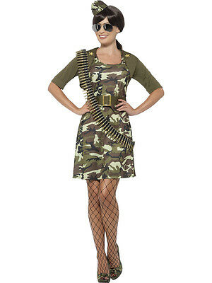Womens Army Costume Camouflage Camo Military Dress Halloween Adult S M L XL NEW