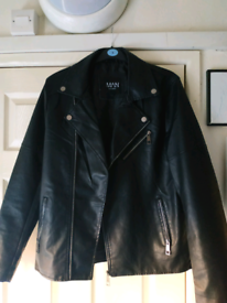Faux Leather Biker Jacket - Medium