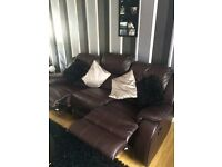 3 and 2 seater recliner sofa leather