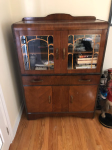 Antique Dark Wood Pantry Cabinet Vintage