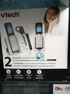 Cordless 2 handset phone & connect to Cell phone (V-Tech)
