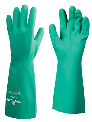 Showa 727 Chemical Resistant Unlined Nitrile Glove 727-09 Size 9 3 Pair