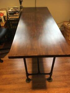 Wooden butcher block desk