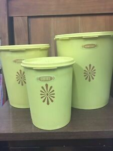 Four different sets of vintage canisters
