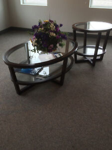 Oval & Glass coffee table and side table - OFFERS?