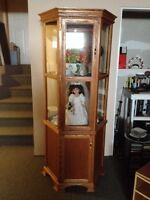 Beautiful hand crafted solid oak curio cabinet