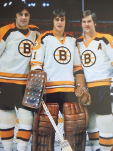 PHIL ESPOSITO, GILLES GILBERT, BOBBY ORR 8 x 10 Unsigned Photo