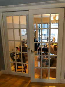 Beautiful, solid wood french doors. All hardware included.