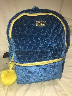 Betsey Johnson Back pack tote Teal blue. Medium sized velour w star pattern