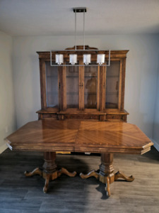 Dining room dark brown  real wood hutch table and chairs set