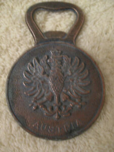 "UNIQUE OLD VINTAGE SOLID COPPER ""AUSTRIA"" MEDALLION-STYLE BOTTLE"