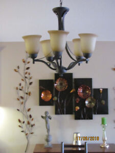 CHANDELIER - 5 LIGHT - Finish: Aged Bronze, Glass: Frosted Light
