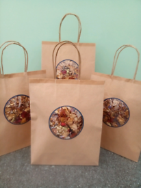 Dried Natural Flowers in Brown Paper Carrier Bags Viewing on doorstep!