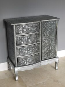 Black Silver Embossed Metal Furniture 4 Drawer 1 Door Chest Of Drawers