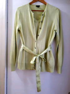 Gorgeous 2 pieces cardigan and top, lime green, Gap, size XL
