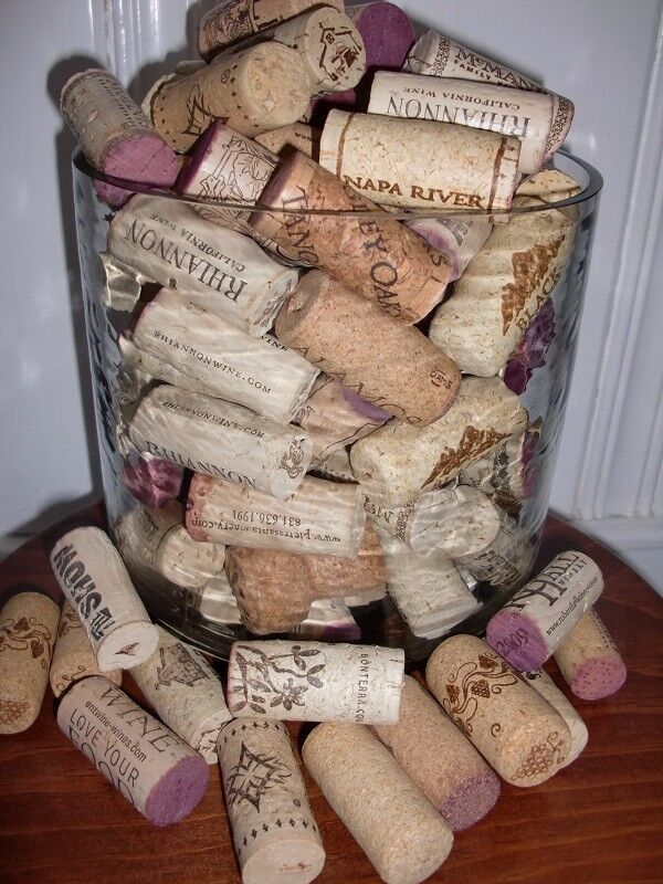 NATURAL WINE CORKS - 375 total, assorted labels, used