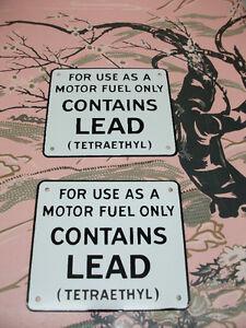 pompe a essence pièces contains lead sign porcelain & bendable
