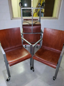 Custom made bent wood chair with metal frame
