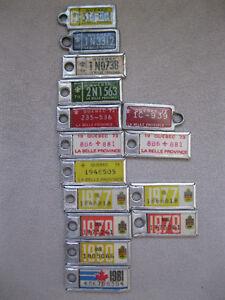 14 Mini License Plates Quebec 1964-1981 5.00 each