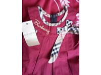 Burgundy Burberry Baby Girl Dress New