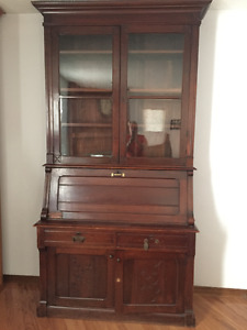 Antique Secretary Desk with Bookcase and Extra Storage