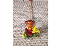 Lovely wooden monkey push toy