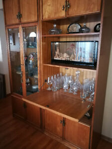 Oak China Cabinet and Matching Bar with a Hint of the Orient