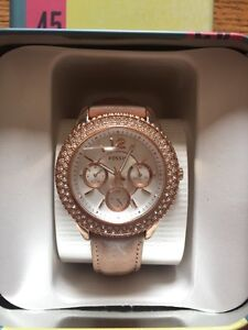 Rose Gold & Leather Fossil Watch
