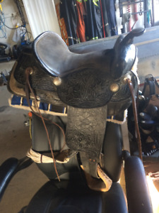 Black rose Saddle with Silver accents, pad , helmet, head gear