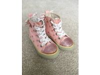 Baby girl pink boots with glittery polkadots