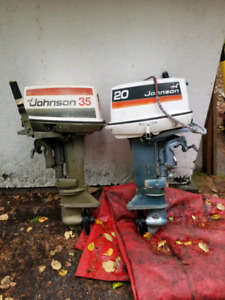 Two used outboard motors Johnson 20hp & 35hp