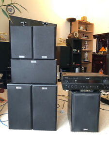 Home theater system 5.1 with yamaha receiver,  Quest speakers