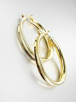 ELEGANT CLASSIC 18kt Gold Plated OVAL Hoop Earrings (Elegant Earrings Classic Earrings)