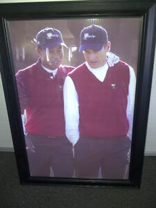 Framed picture of Tiger Woods and Jim Furyk (Great for Office)